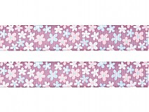 Galantéria - Stuha rypsová 25mm kvietky Pastel Lilac - 2268539