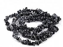 - Obsidián vločkový zlomky na silóne cca 90 cm - 2285237