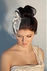 Čelenky - svadobný klobúčik so závojom - 2302273