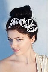 Sponky/Spony - Svadobná ozdoba do vlasov s pierkami, fascinátor  - 2306395