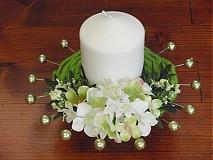 Svietidlá a sviečky - Zeleno biela sviečka - 2336428