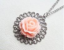 Náhrdelníky - ružová ruža - 2339541