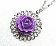 Náhrdelníky - fialová ruža - 2353812