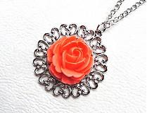Náhrdelníky - červená ruža - 2357272