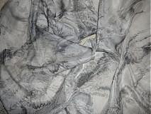 Šály - Hodvábny šál čierny mramor - 237019