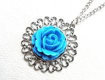 Náhrdelníky - modrá ruža - 2370899