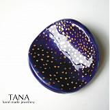 Brošne - Tana šperky - keramika/zlato, nočná obloha - 2386681