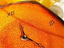 Nástenné hodiny, oranžové, keramické