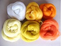 Textil - Merino vlna na plstenie - sada 60 g žlto-oranž - 2405287