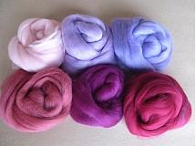 Textil - Merino vlna na plstenie sada ružová pastelová - 2405312