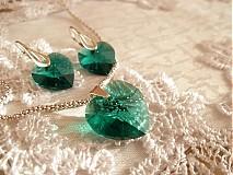 Sada Swarovski Emerald + striebro
