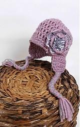 Detské čiapky - Fialová háčkovaná - 2417682