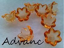 Korálky - Zvonček priesvitný oranžový 6ks HB - 2427817