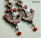Náušnice - red anchor - 2434729