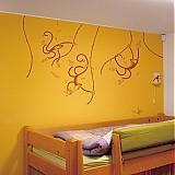 Dekorácie - Opičky (jedna farba) - detská nálepka na stenu - 2439485