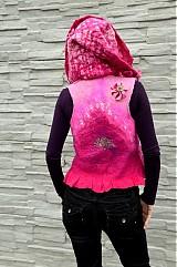 Iné oblečenie - Vesta plstená z ružového obláčika(vesta+odopínacia kapucňa) - 2443675