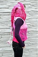 Iné oblečenie - Vesta plstená z ružového obláčika(vesta+odopínacia kapucňa) - 2443698