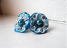 Náušnice - Pompadourky, modré - 2446865