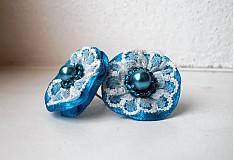 Náušnice - Pompadourky, modré - 2446866