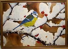 Obrazy - Sýkorka na šípkach 106x76 cm - 245000