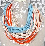 Šály - špagetky oranžová, smotanová, modrá, béžová - 2464076