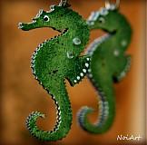 Náušnice - morský koník zelený - 2466660