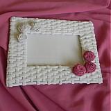 Rámiky - Pletený fotorámik - papierové pletenie - 2499251