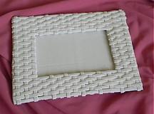 Rámiky - Pletený fotorámik - papierové pletenie - 2499252