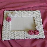 Rámiky - Pletený fotorámik - papierové pletenie - 2499256