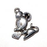 Komponenty - 1114-0246 Kovový prívesok myšička 20x17 mm - farba nikel, 1 ks - 250074
