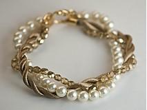 Náramky - perlový náramok s točenou šnúrou - 250758
