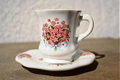Nádoby - Šálka s podšálkou Espresso - ružové nezábudky - 2517378