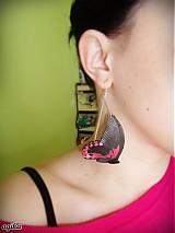 Náušnice - Čierne s ružovou - 2519210