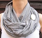 Šály - šedý s bielymi bodkami - 2538009