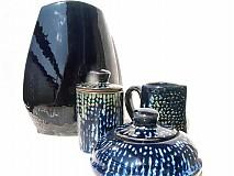 Dekorácie - váza tmavomodrá   set