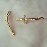 Komponenty - kríž medzikus zlatý s bielymi kamienkami, 0.75€/ks - 2581625