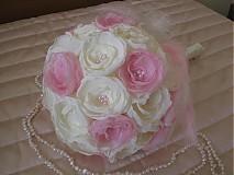 Kytice pre nevestu - Svadobná látková kytica vanilkovo - ružová - 2631860