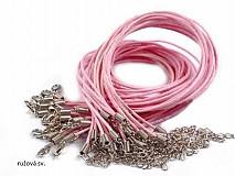 - Šnúrka bavlnená  s karabinkou - svetlo ružová - 2647538