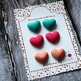 Náušnice - Funky hearts - náušky zapichovačky cena za jeden pár - 2651523