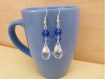 - Modré elegantné náušnice - výpredaj - 2652526