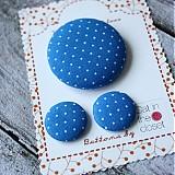 Sady šperkov - Náušky a brošňa Modré bodečky - 2657867