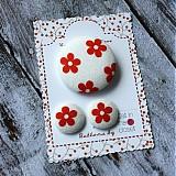 - Náušky a brošňa Červený kvietok - 2657873