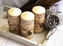 Svietidlá a sviečky - 3 shabby chic sviečky - 2665924