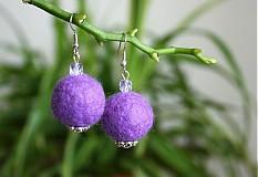 Náušnice - plstenčiatka fialové - 269894