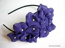 textilná čelenka s kvetmi - fialka