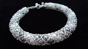 Náramky - Bielo - strieborný perličkový náramok - 2717974