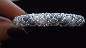 Náramky - Bielo - strieborný perličkový náramok - 2717980