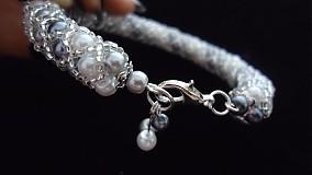 Náramky - Bielo - strieborný perličkový náramok - 2717982