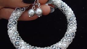 Náramky - Bielo - strieborný perličkový náramok - 2717985