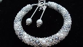 Náramky - Bielo - strieborný perličkový náramok - 2717986